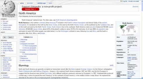 A Wikipedia page (snapshot)