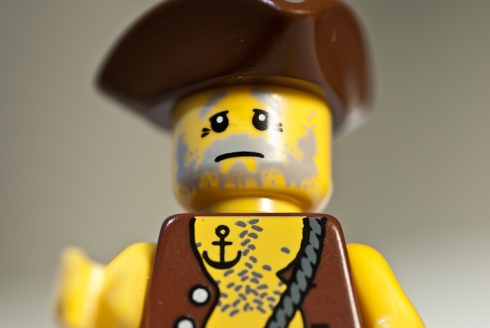 Lego Men, close up, looking upwards